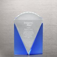 Sky Blue Accent Crystal Trophy - Diamond